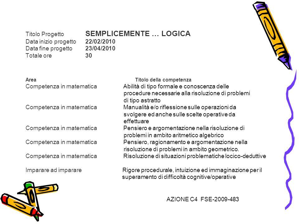 Titolo Progetto SEMPLICEMENTE … LOGICA Data inizio progetto 22/02/2010 Data fine progetto 23/04/2010 Totale ore 30 Area Titolo della competenza Compet