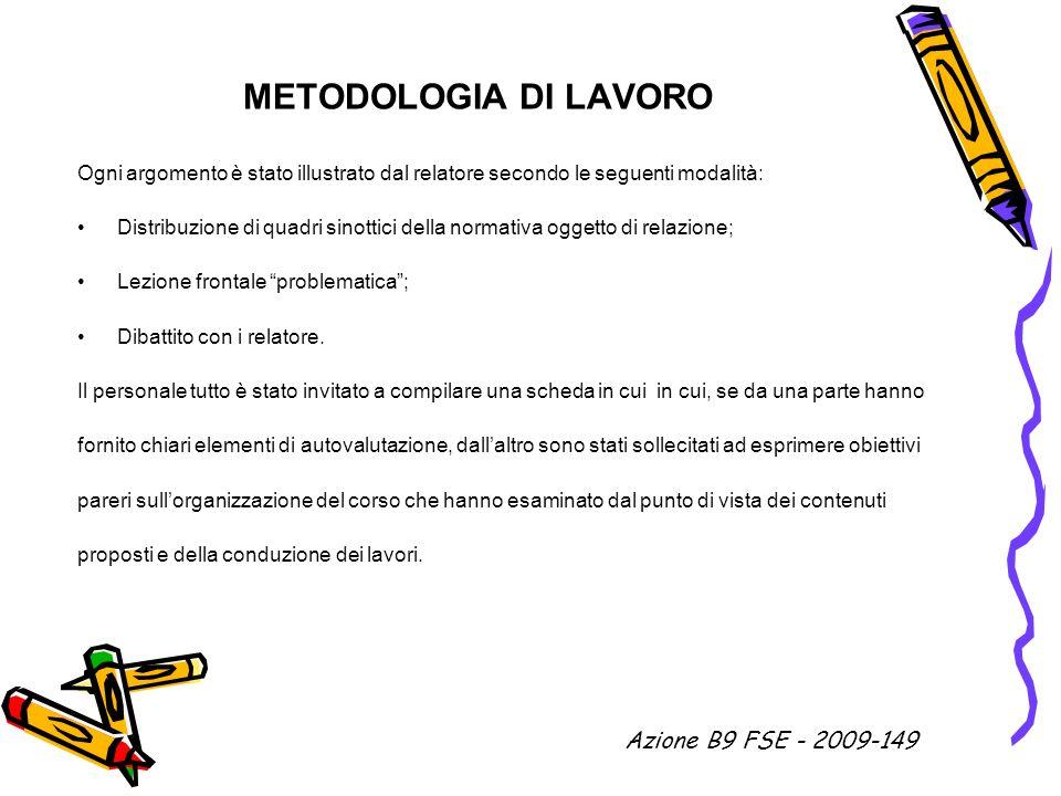 METODOLOGIA DI LAVORO Ogni argomento è stato illustrato dal relatore secondo le seguenti modalità: Distribuzione di quadri sinottici della normativa o