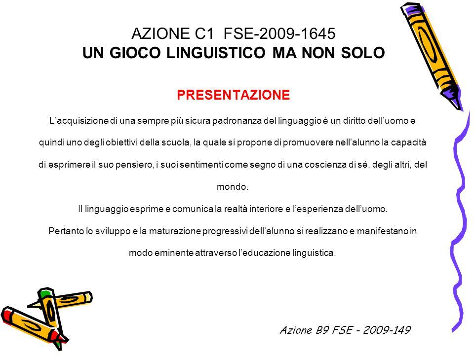 AZIONE C1 FSE-2009-1645 UN GIOCO LINGUISTICO MA NON SOLO PRESENTAZIONE Lacquisizione di una sempre più sicura padronanza del linguaggio è un diritto d