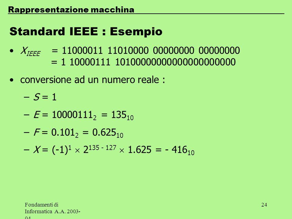 Fondamenti di Informatica A.A. 2003- 04 24 Standard IEEE : Esempio X IEEE = 11000011 11010000 00000000 00000000 = 1 10000111 10100000000000000000000 c