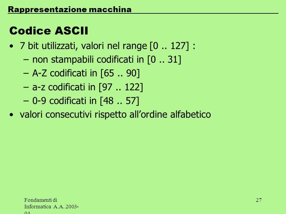 Fondamenti di Informatica A.A. 2003- 04 27 Codice ASCII 7 bit utilizzati, valori nel range [0.. 127] : –non stampabili codificati in [0.. 31] –A-Z cod