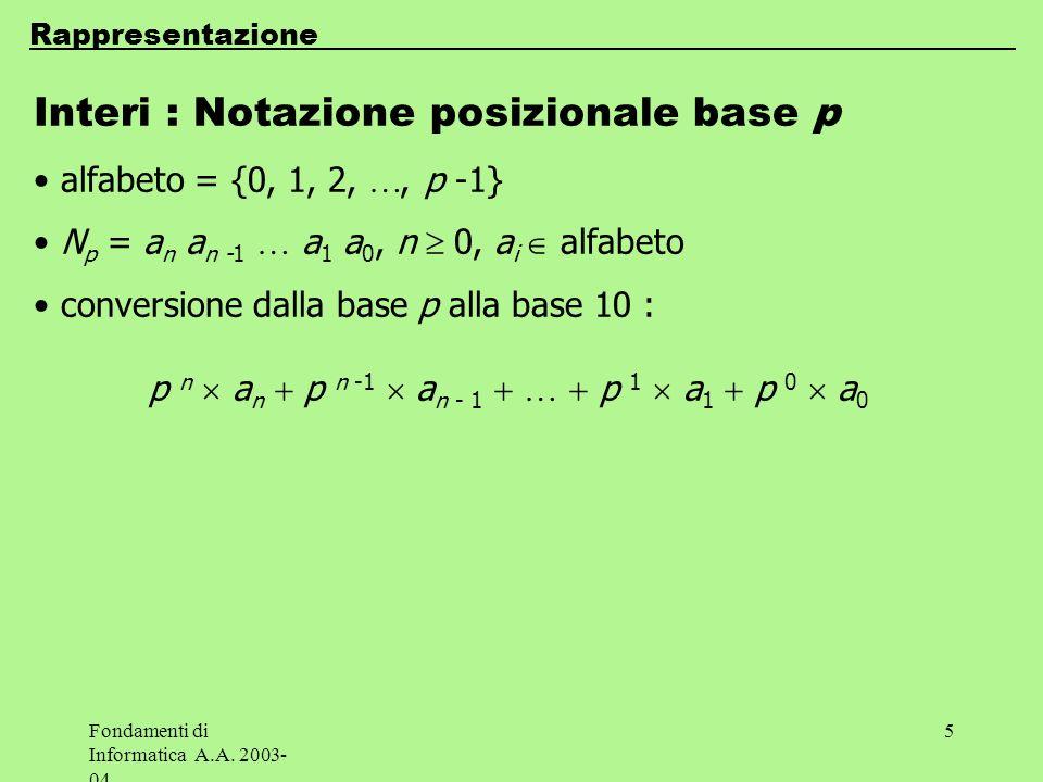 Fondamenti di Informatica A.A. 2003- 04 5 Rappresentazione Interi : Notazione posizionale base p alfabeto = {0, 1, 2,, p -1} N p = a n a n -1 a 1 a 0,
