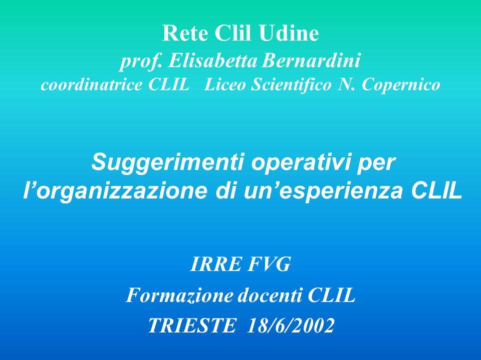 Rete Clil Udine prof. Elisabetta Bernardini coordinatrice CLIL Liceo Scientifico N. Copernico Suggerimenti operativi per lorganizzazione di unesperien