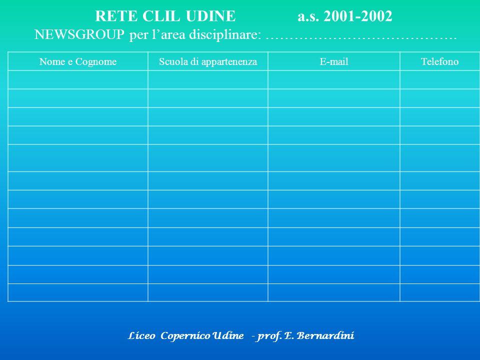 Liceo Copernico Udine - prof. E. Bernardini RETE CLIL UDINE a.s. 2001-2002 NEWSGROUP per larea disciplinare: …………………………………. Nome e CognomeScuola di ap