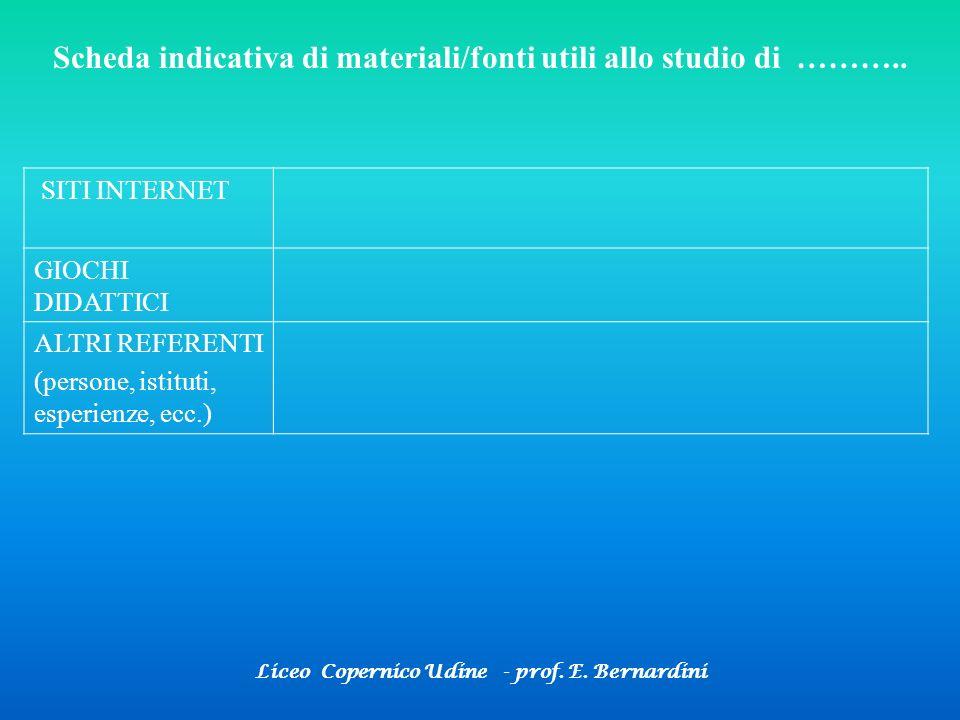Liceo Copernico Udine - prof. E. Bernardini Scheda indicativa di materiali/fonti utili allo studio di ……….. SITI INTERNET GIOCHI DIDATTICI ALTRI REFER