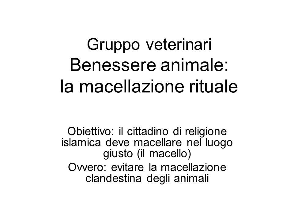 Gruppo veterinari Benessere animale: la macellazione rituale Obiettivo: il cittadino di religione islamica deve macellare nel luogo giusto (il macello