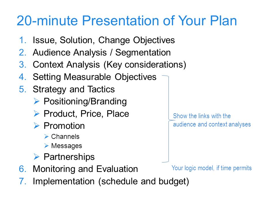 20-minute Presentation of Your Plan 1.Issue, Solution, Change Objectives 2.Audience Analysis / Segmentation 3.Context Analysis (Key considerations) 4.