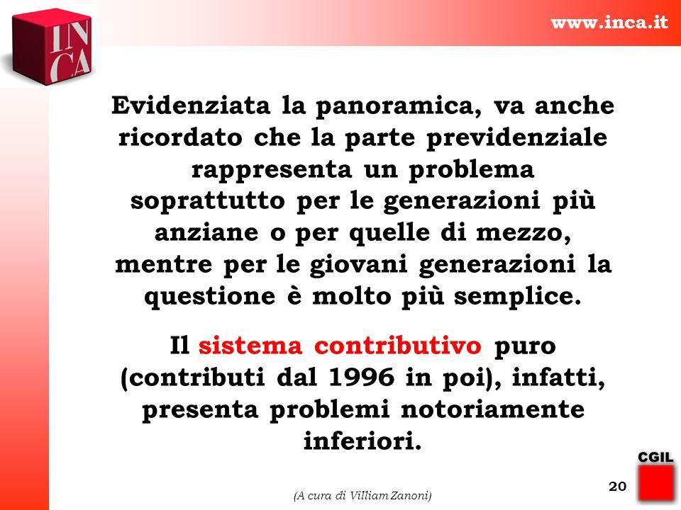 www.inca.it (A cura di Villiam Zanoni) 20 Evidenziata la panoramica, va anche ricordato che la parte previdenziale rappresenta un problema soprattutto