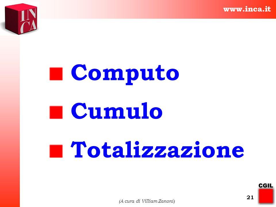 www.inca.it (A cura di Villiam Zanoni) 21 Computo Cumulo Totalizzazione