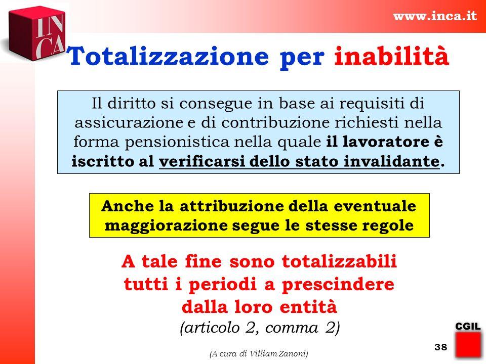 www.inca.it (A cura di Villiam Zanoni) 38 Il diritto si consegue in base ai requisiti di assicurazione e di contribuzione richiesti nella forma pensio