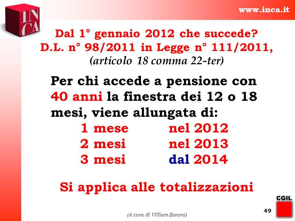 www.inca.it (A cura di Villiam Zanoni) 49 Per chi accede a pensione con 40 anni la finestra dei 12 o 18 mesi, viene allungata di: 1 mese nel 2012 2 me