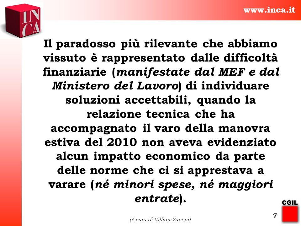 www.inca.it (A cura di Villiam Zanoni) 7 Il paradosso più rilevante che abbiamo vissuto è rappresentato dalle difficoltà finanziarie ( manifestate dal