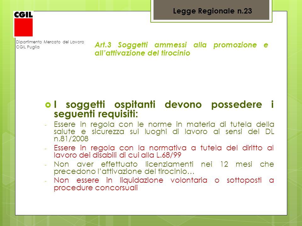 Dipartimento Mercato del Lavoro CGIL Puglia Art.3 Soggetti ammessi alla promozione e allattivazione del tirocinio I soggetti ospitanti devono posseder