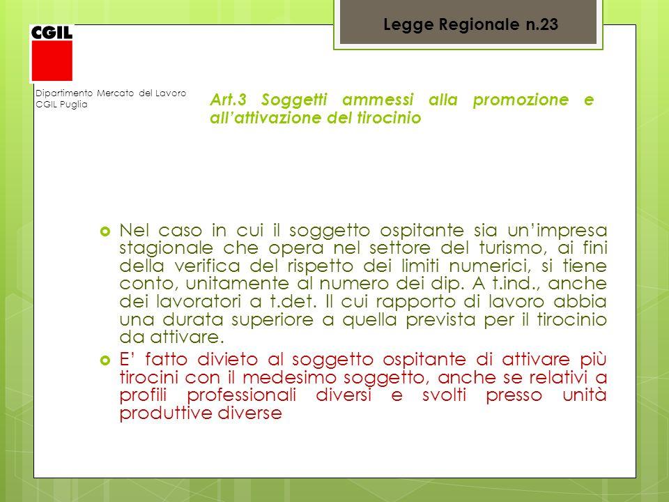 Dipartimento Mercato del Lavoro CGIL Puglia Art.3 Soggetti ammessi alla promozione e allattivazione del tirocinio Nel caso in cui il soggetto ospitant
