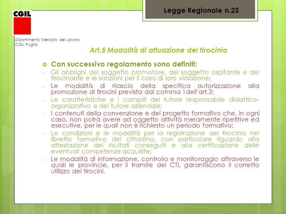 Dipartimento Mercato del Lavoro CGIL Puglia Art.5 Modalità di attuazione del tirocinio Con successivo regolamento sono definiti: - Gli obblighi del so