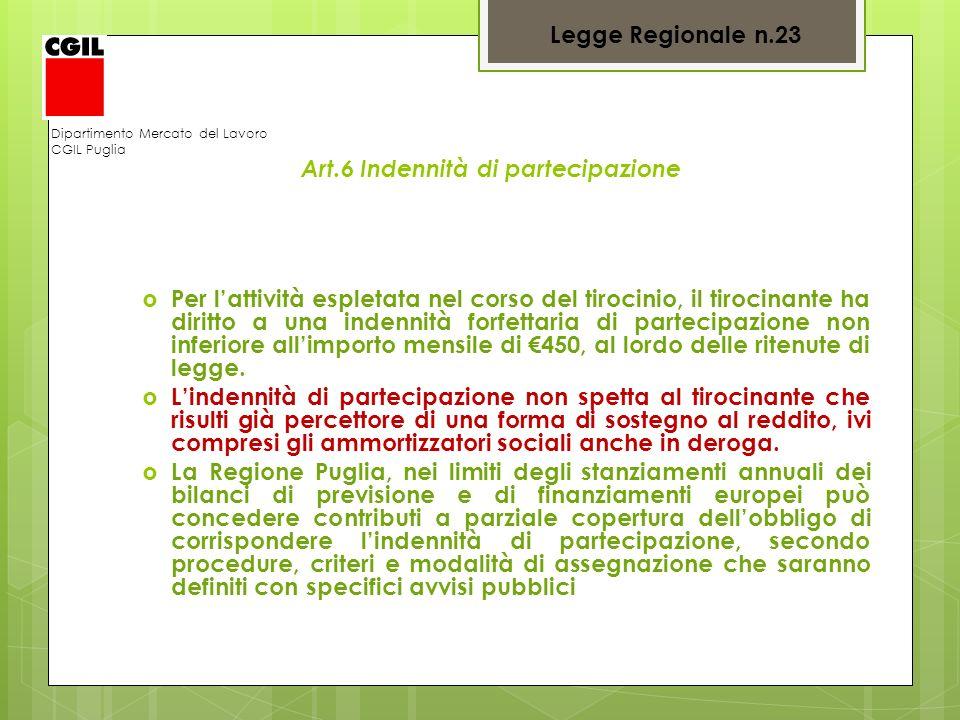 Dipartimento Mercato del Lavoro CGIL Puglia Art.6 Indennità di partecipazione Per lattività espletata nel corso del tirocinio, il tirocinante ha dirit