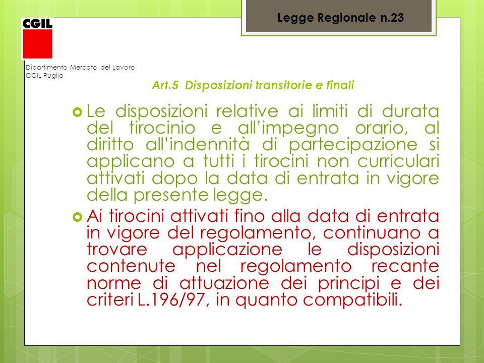 Dipartimento Mercato del Lavoro CGIL Puglia Art.5 Disposizioni transitorie e finali Le disposizioni relative ai limiti di durata del tirocinio e allim
