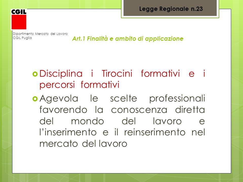 Art.1 Finalità e ambito di applicazione Disciplina i Tirocini formativi e i percorsi formativi Agevola le scelte professionali favorendo la conoscenza