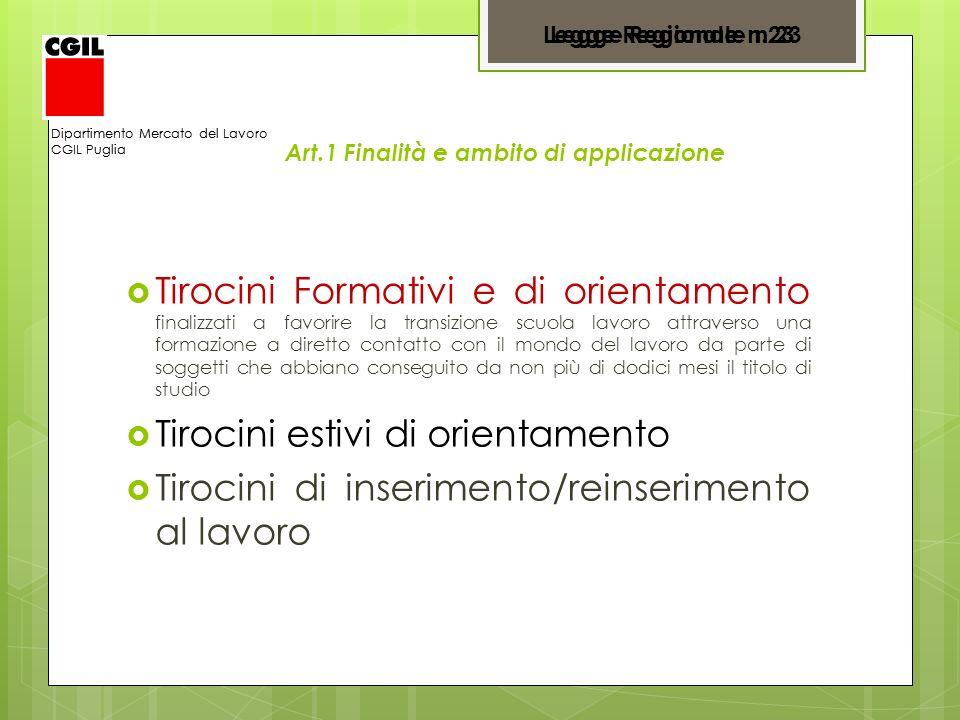 Dipartimento Mercato del Lavoro CGIL Puglia Legge Regionale n.23 Art.1 Finalità e ambito di applicazione Tirocini Formativi e di orientamento finalizz