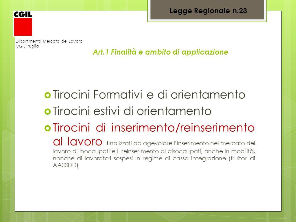 Legge Regionale n.23 Dipartimento Mercato del Lavoro CGIL Puglia Art.1 Finalità e ambito di applicazione Tirocini Formativi e di orientamento Tirocini