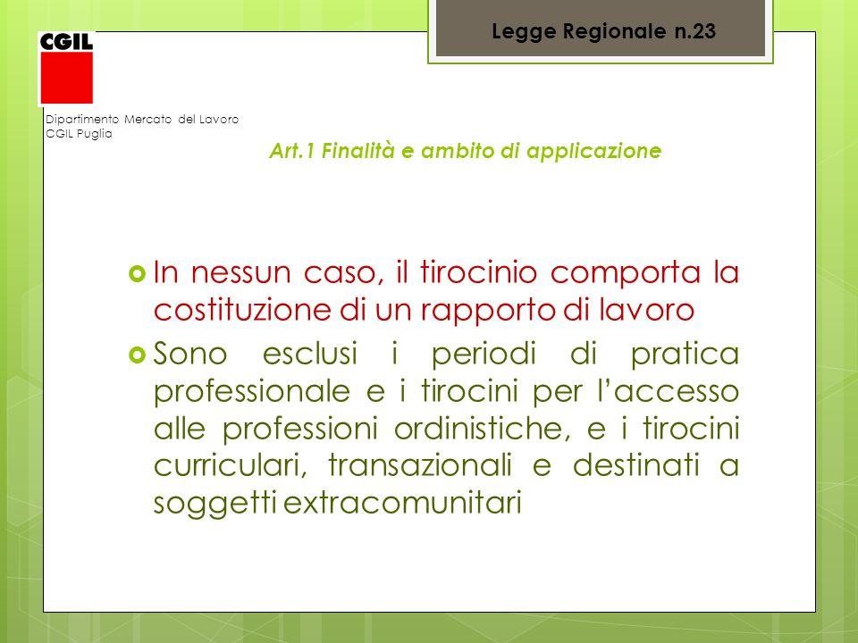 Dipartimento Mercato del Lavoro CGIL Puglia Art.1 Finalità e ambito di applicazione In nessun caso, il tirocinio comporta la costituzione di un rappor