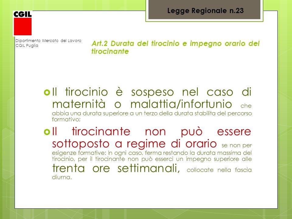 Dipartimento Mercato del Lavoro CGIL Puglia Art.2 Durata del tirocinio e impegno orario del tirocinante Il tirocinio è sospeso nel caso di maternità o