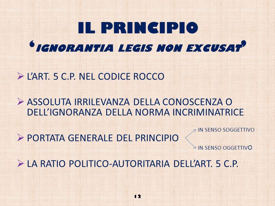 IL PRINCIPIO IGNORANTIA LEGIS NON EXCUSAT LART. 5 C.P. NEL CODICE ROCCO ASSOLUTA IRRILEVANZA DELLA CONOSCENZA O DELLIGNORANZA DELLA NORMA INCRIMINATRI