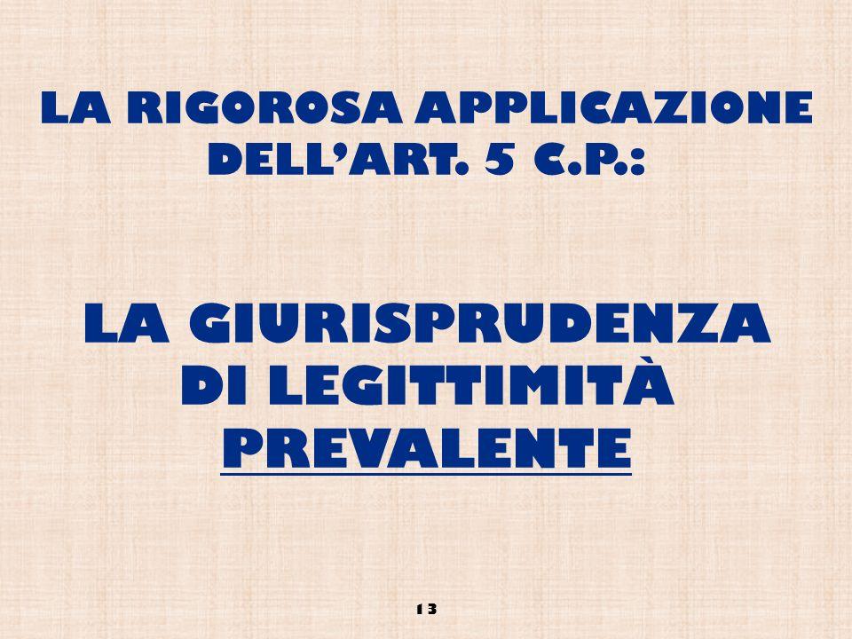 LA RIGOROSA APPLICAZIONE DELLART. 5 C.P.: LA GIURISPRUDENZA DI LEGITTIMITÀ PREVALENTE 13