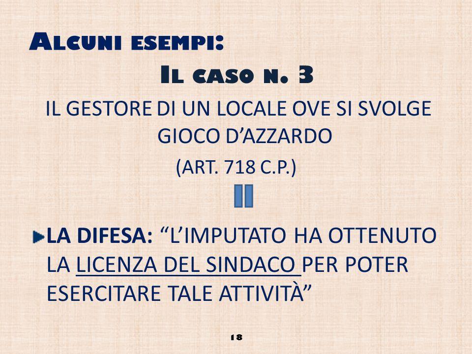 A LCUNI ESEMPI : IL GESTORE DI UN LOCALE OVE SI SVOLGE GIOCO DAZZARDO (ART. 718 C.P.) LA DIFESA: LIMPUTATO HA OTTENUTO LA LICENZA DEL SINDACO PER POTE