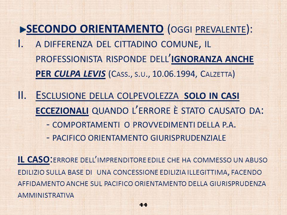 44 SECONDO ORIENTAMENTO ( OGGI PREVALENTE ): I. A DIFFERENZA DEL CITTADINO COMUNE, IL PROFESSIONISTA RISPONDE DELL IGNORANZA ANCHE PER CULPA LEVIS (C