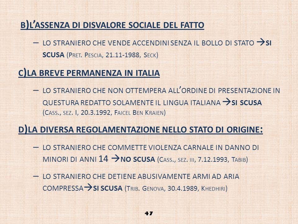 B ) L ASSENZA DI DISVALORE SOCIALE DEL FATTO – LO STRANIERO CHE VENDE ACCENDINI SENZA IL BOLLO DI STATO SI SCUSA (P RET. P ESCIA, 21.11-1988, S ECK )