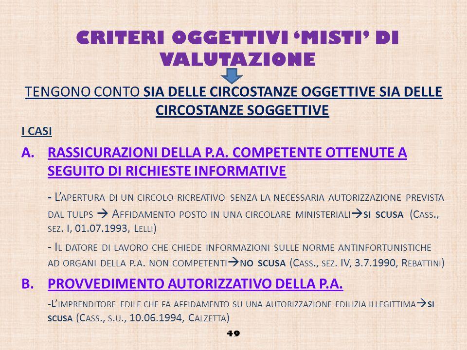 CRITERI OGGETTIVI MISTI DI VALUTAZIONE TENGONO CONTO SIA DELLE CIRCOSTANZE OGGETTIVE SIA DELLE CIRCOSTANZE SOGGETTIVE I CASI A.RASSICURAZIONI DELLA P.