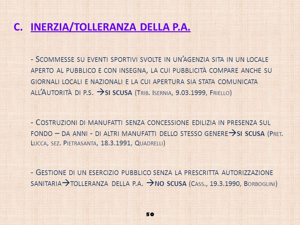 C.INERZIA/TOLLERANZA DELLA P.A. - S COMMESSE SU EVENTI SPORTIVI SVOLTE IN UN AGENZIA SITA IN UN LOCALE APERTO AL PUBBLICO E CON INSEGNA, LA CUI PUBBLI