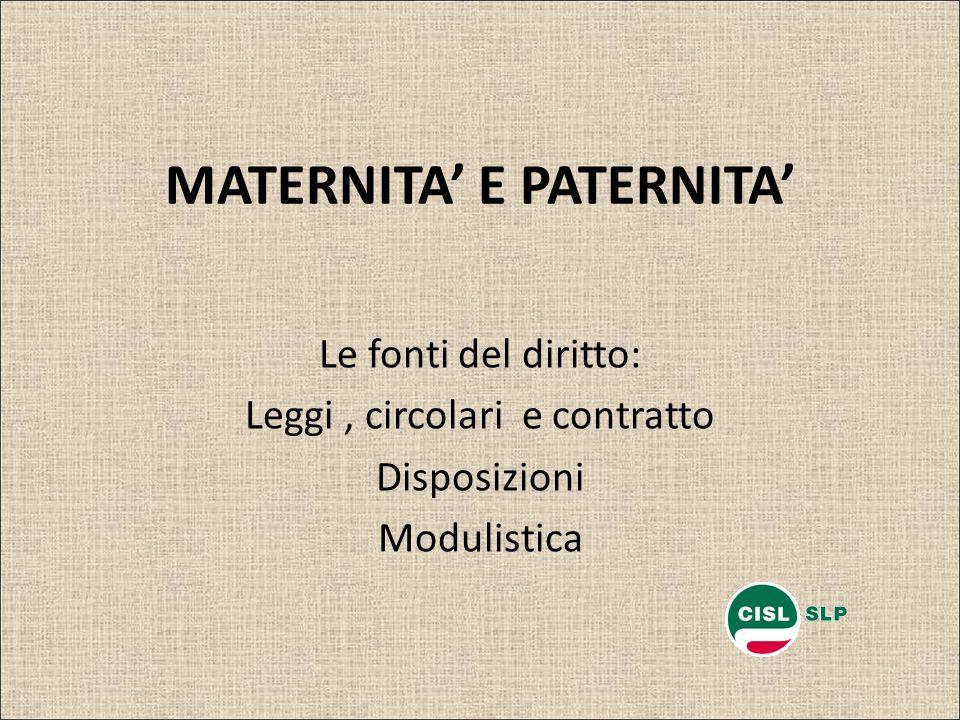 MATERNITA E PATERNITA Le fonti del diritto: Leggi, circolari e contratto Disposizioni Modulistica