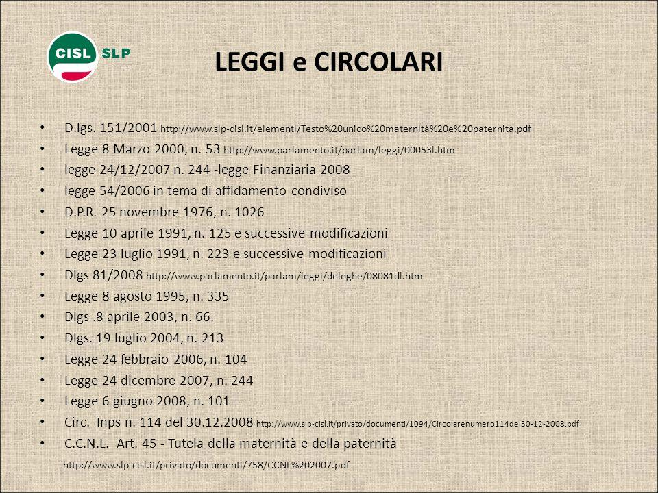 LEGGI e CIRCOLARI D.lgs. 151/2001 http://www.slp-cisl.it/elementi/Testo%20unico%20maternità%20e%20paternità.pdf Legge 8 Marzo 2000, n. 53 http://www.p