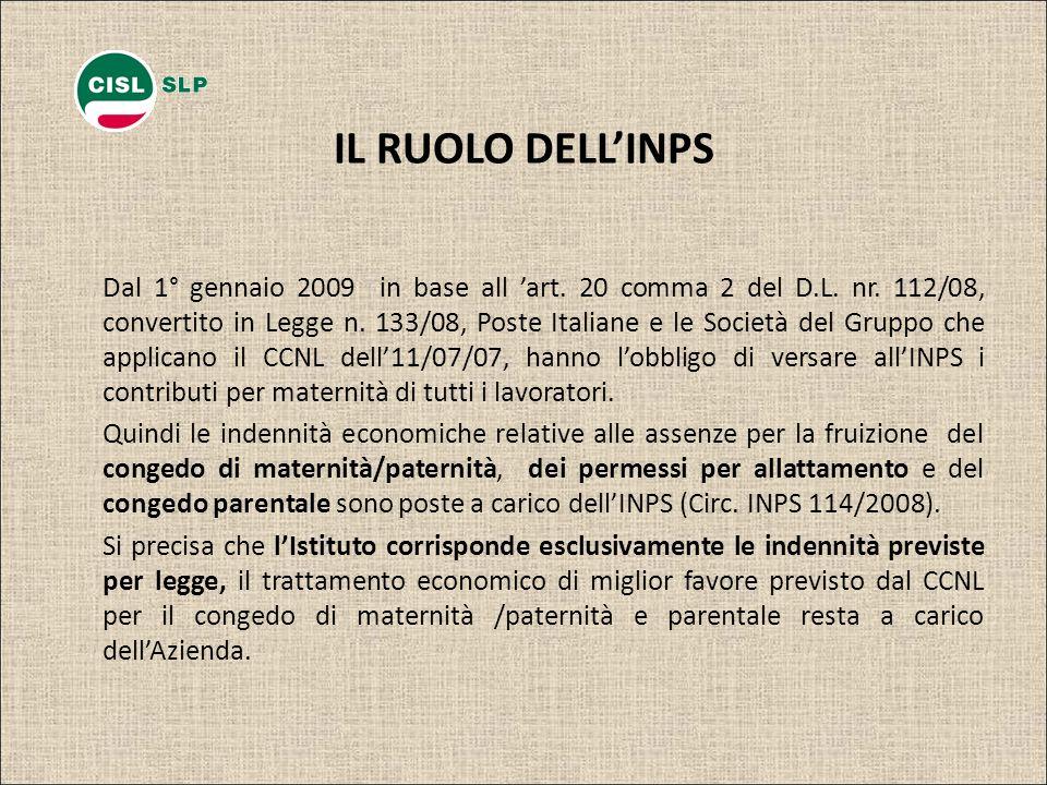 IL RUOLO DELLINPS Dal 1° gennaio 2009 in base all art. 20 comma 2 del D.L. nr. 112/08, convertito in Legge n. 133/08, Poste Italiane e le Società del