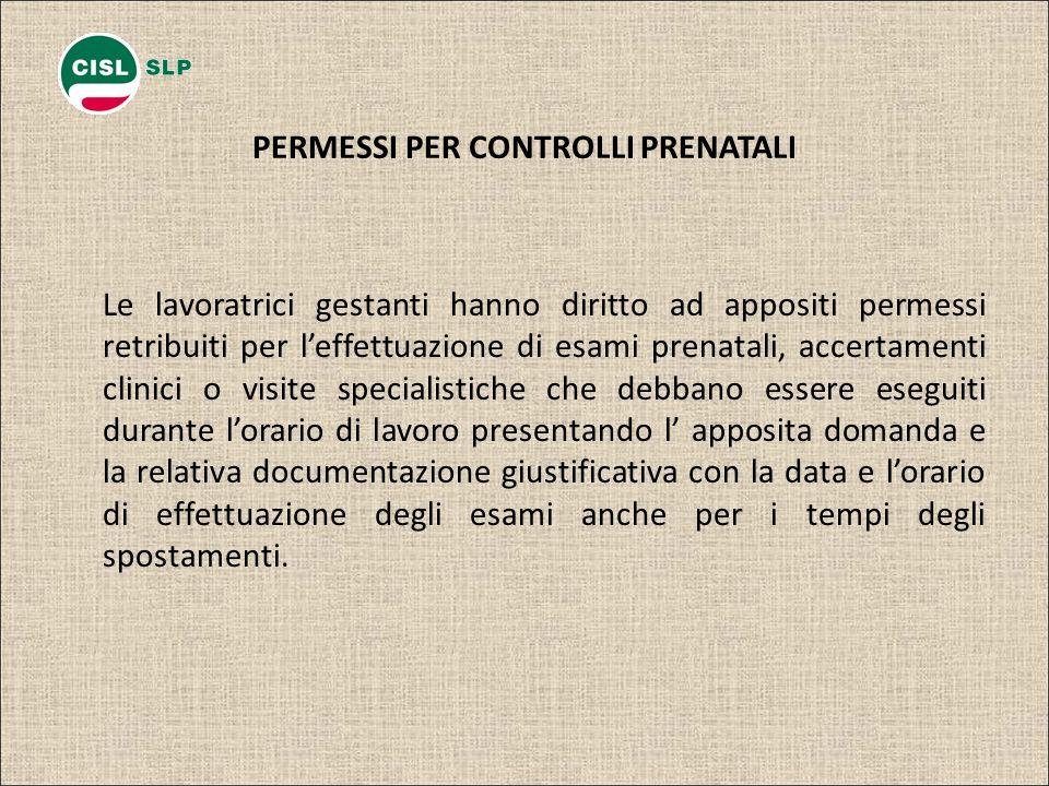 PERMESSI PER CONTROLLI PRENATALI Le lavoratrici gestanti hanno diritto ad appositi permessi retribuiti per leffettuazione di esami prenatali, accertam