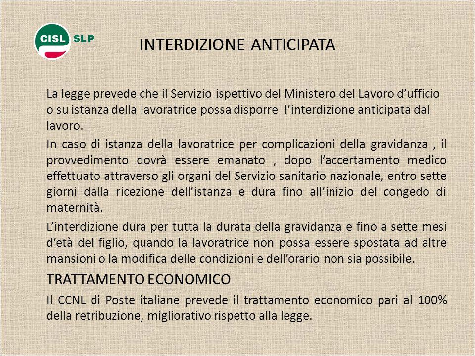 INTERDIZIONE ANTICIPATA La legge prevede che il Servizio ispettivo del Ministero del Lavoro dufficio o su istanza della lavoratrice possa disporre lin