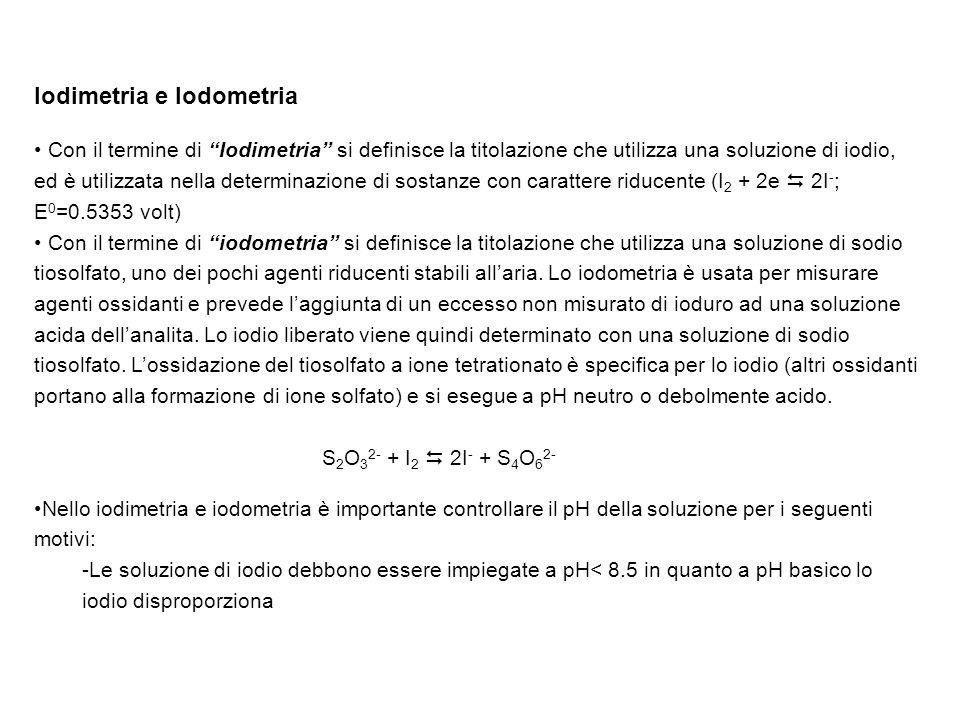 Iodimetria e Iodometria Con il termine di Iodimetria si definisce la titolazione che utilizza una soluzione di iodio, ed è utilizzata nella determinaz