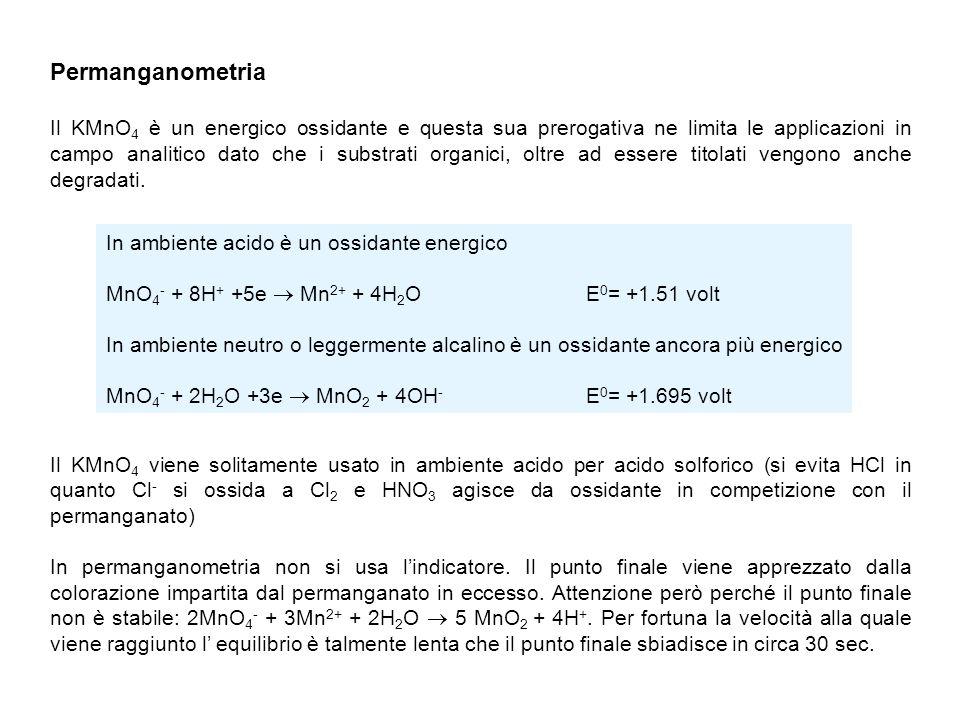Limiti della permanganometria: - Scarsa selettività nei confronti di sostanze riducenti - Intensa colorazione delle soluzioni che impediscono una accurata lettura del menisco - Instabilità chimica della soluzione acquosa.