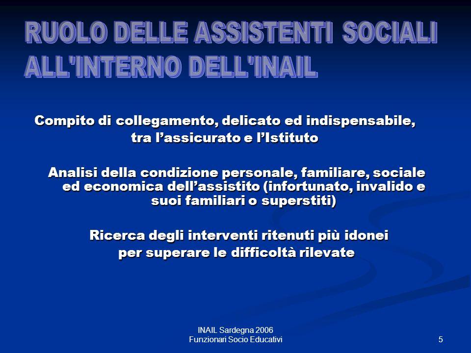 6 INAIL Sardegna 2006 Funzionari Socio Educativi PRESA IN CARICO, con tutti gli strumenti e le modalità dintervento proprie del Servizio Sociale.