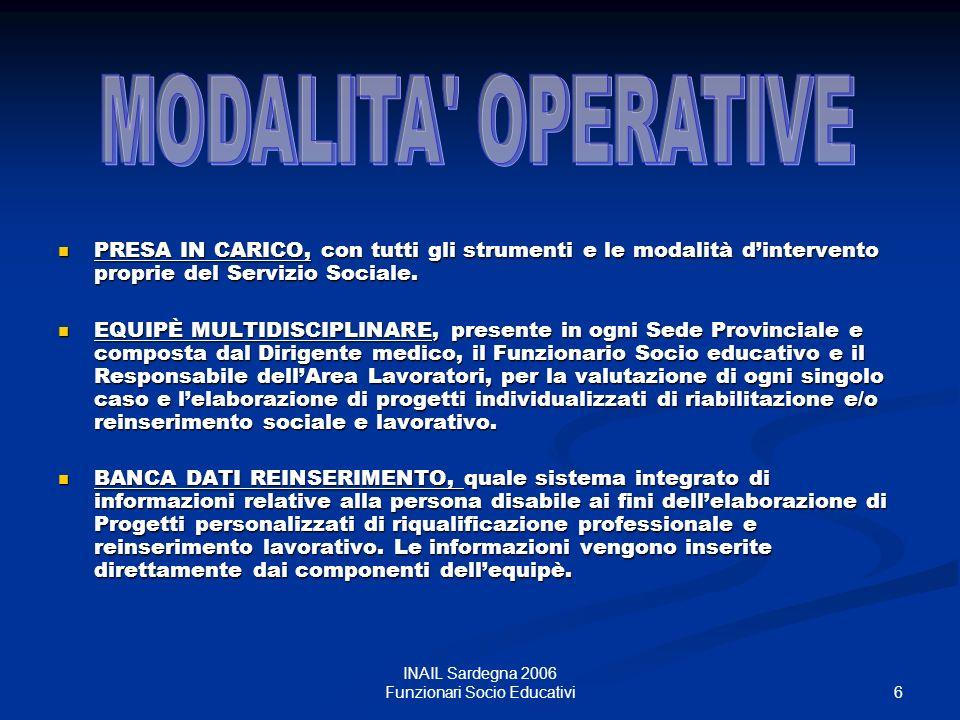 7 INAIL Sardegna 2006 Funzionari Socio Educativi Colloqui di orientamento, di informazione e di sostegno.