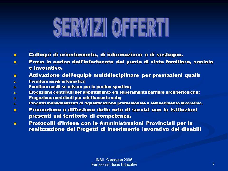 8 INAIL Sardegna 2006 Funzionari Socio Educativi Normativa INAIL D.P.R.