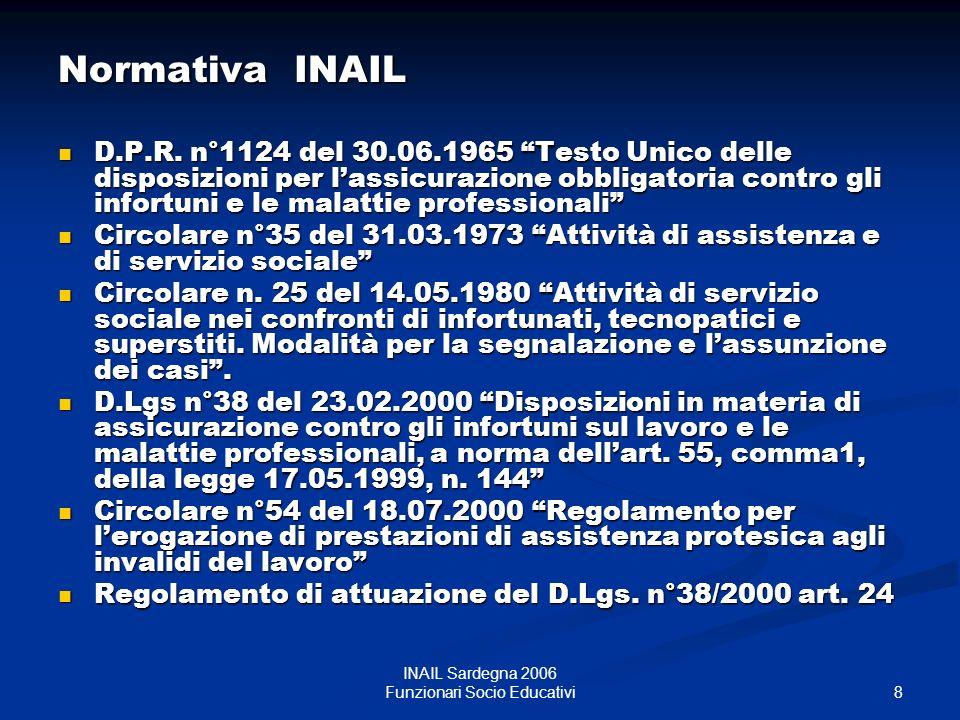 9 INAIL Sardegna 2006 Funzionari Socio Educativi Un saluto a tutti i colleghi.