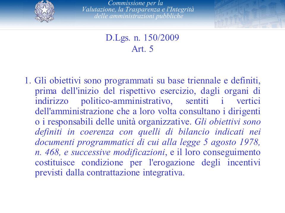 D.Lgs. n. 150/2009 Art. 5 1. Gli obiettivi sono programmati su base triennale e definiti, prima dell'inizio del rispettivo esercizio, dagli organi di