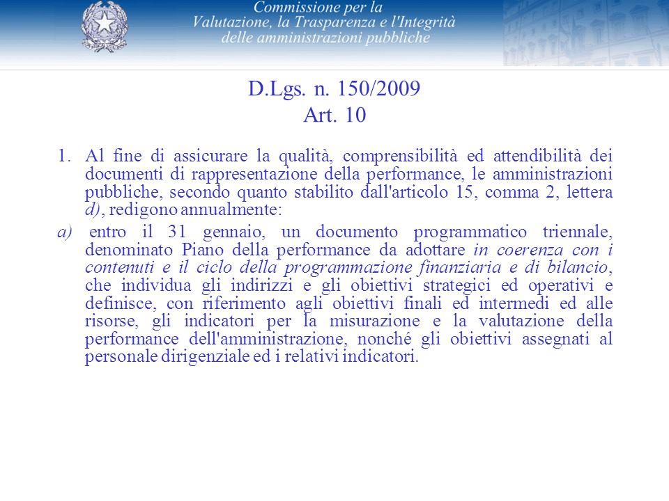 D.Lgs. n. 150/2009 Art. 10 1.Al fine di assicurare la qualità, comprensibilità ed attendibilità dei documenti di rappresentazione della performance, l