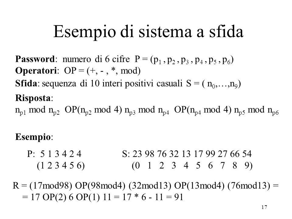 17 Esempio di sistema a sfida Password: numero di 6 cifre P = (p 1, p 2, p 3, p 4, p 5, p 6 ) Operatori: OP = (+, -, *, mod) Sfida: sequenza di 10 int