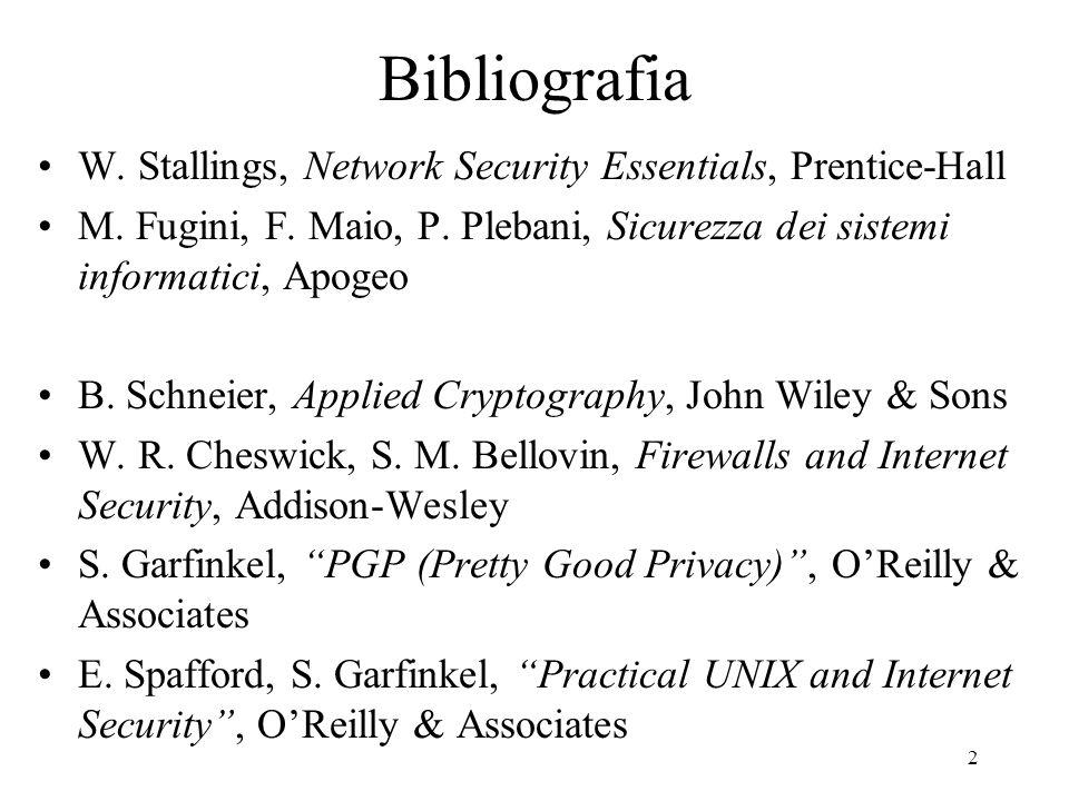 2 Bibliografia W. Stallings, Network Security Essentials, Prentice-Hall M. Fugini, F. Maio, P. Plebani, Sicurezza dei sistemi informatici, Apogeo B. S