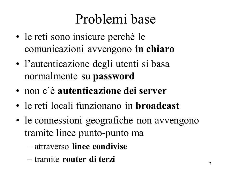 7 Problemi base le reti sono insicure perchè le comunicazioni avvengono in chiaro lautenticazione degli utenti si basa normalmente su password non cè