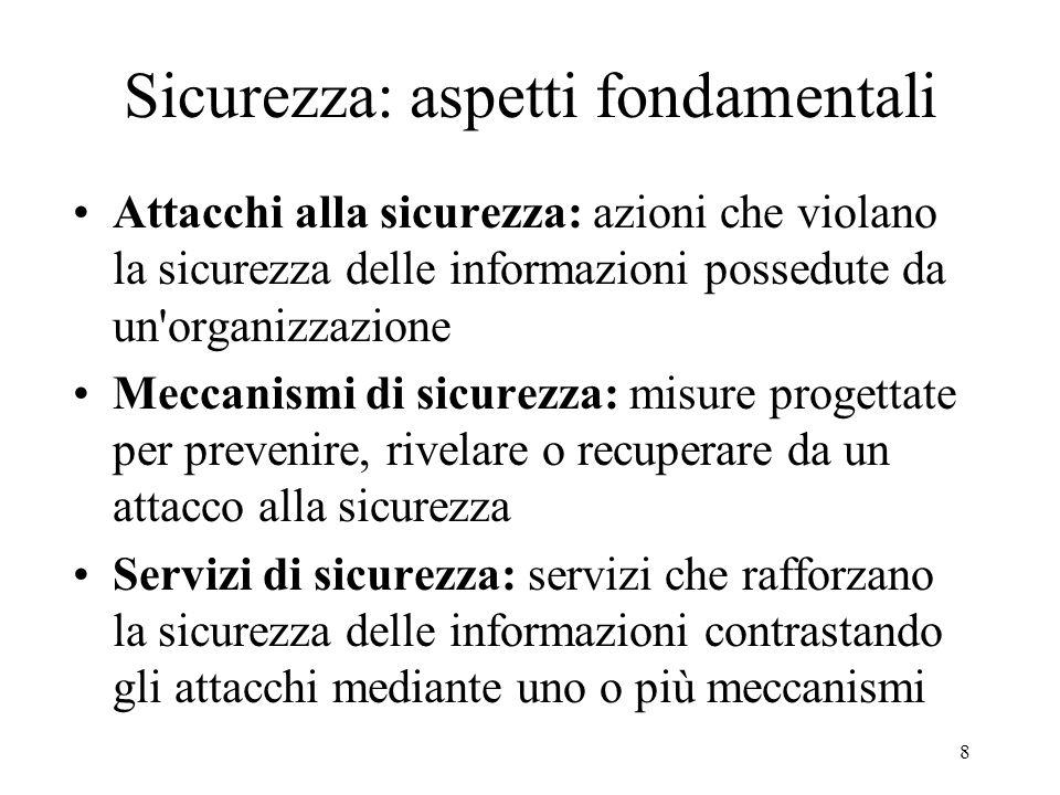 8 Sicurezza: aspetti fondamentali Attacchi alla sicurezza: azioni che violano la sicurezza delle informazioni possedute da un'organizzazione Meccanism